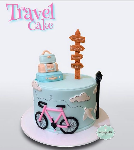 blue cake with fondant cycle, suitcake fondant toppers