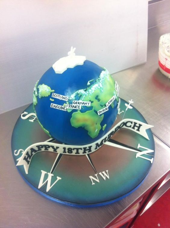world cake with countries on it - Travel Theme Cake Tutorials