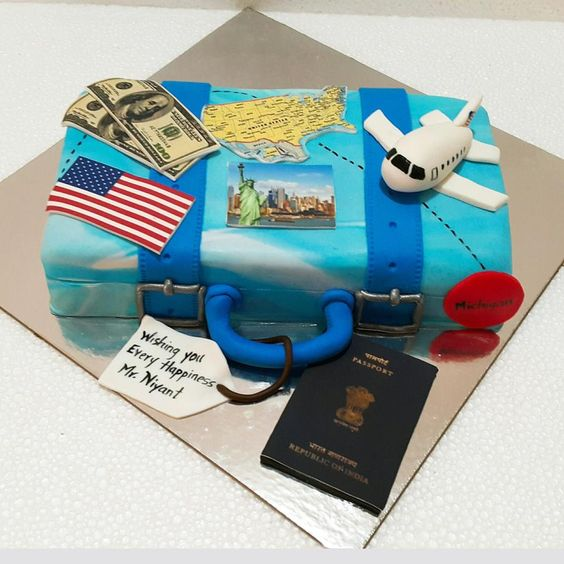 fondant passport and airplane topper on cakes