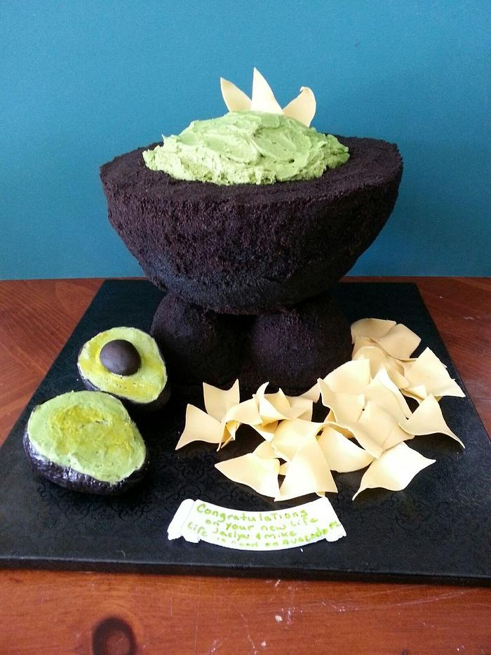 cake made in the shape of avocado and fondant chips