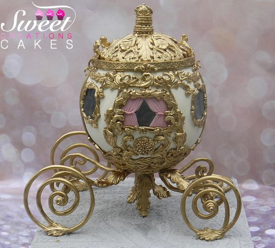 gold work on a realistic looking fondant carriage cake