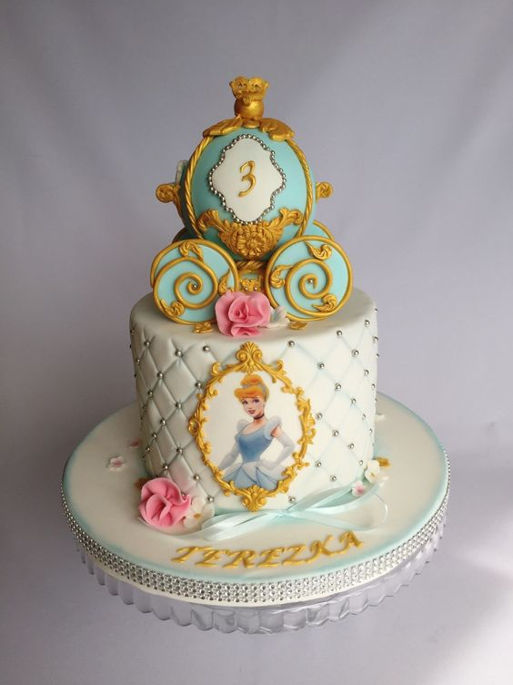gold and blue cinderella theme cake