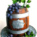 drum of alcohol with fondant grapes and leaves