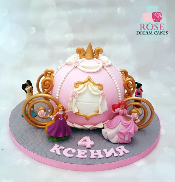 pink and gold carriage cake for cinderella